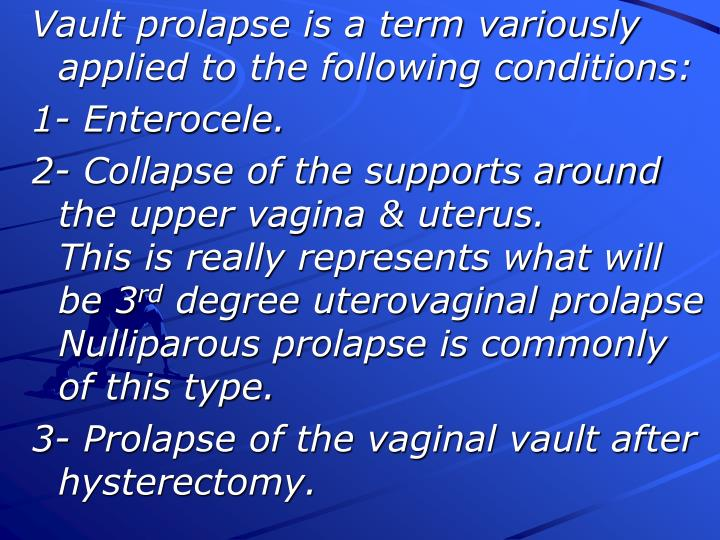 Vault prolapse is a term variously applied to the following conditions: