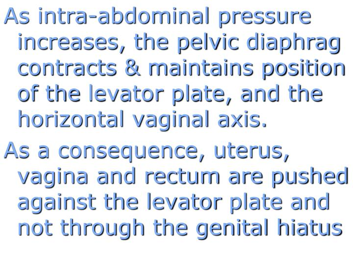 As intra-abdominal pressure increases, the pelvic