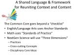 a shared language framework for reuniting context and content