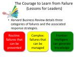 the courage to learn f rom failure lessons for leaders