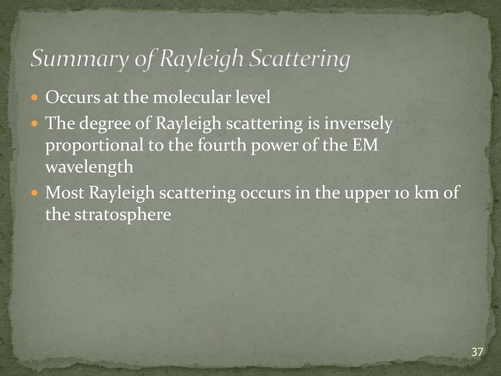 Summary of Rayleigh Scattering