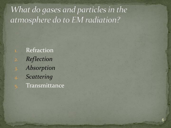 What do gases and particles in the atmosphere do to EM radiation?