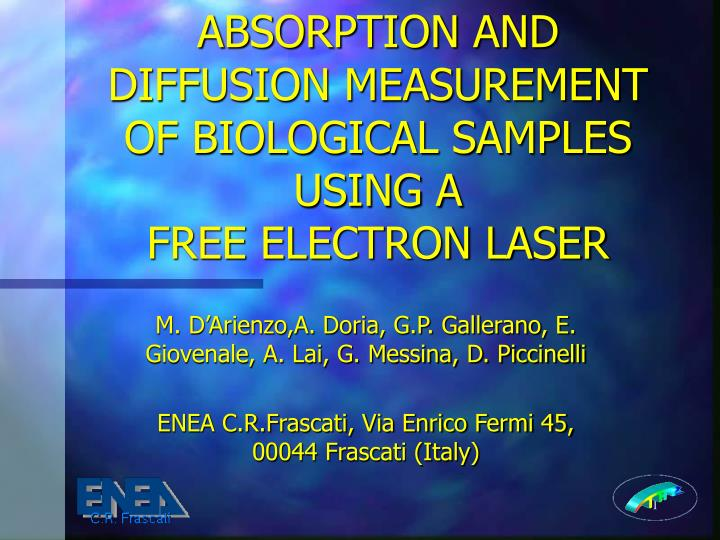 Absorption and diffusion measurement of biological samples using a free electron laser