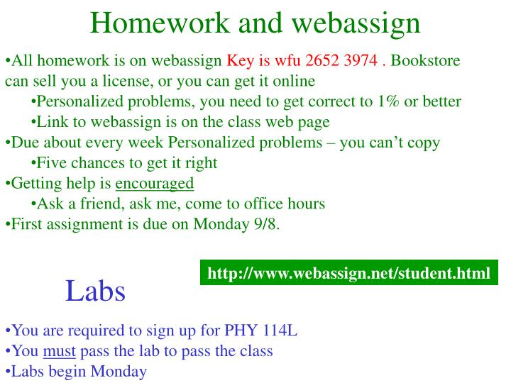 Homework and webassign