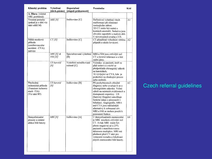 Czech referral guidelines