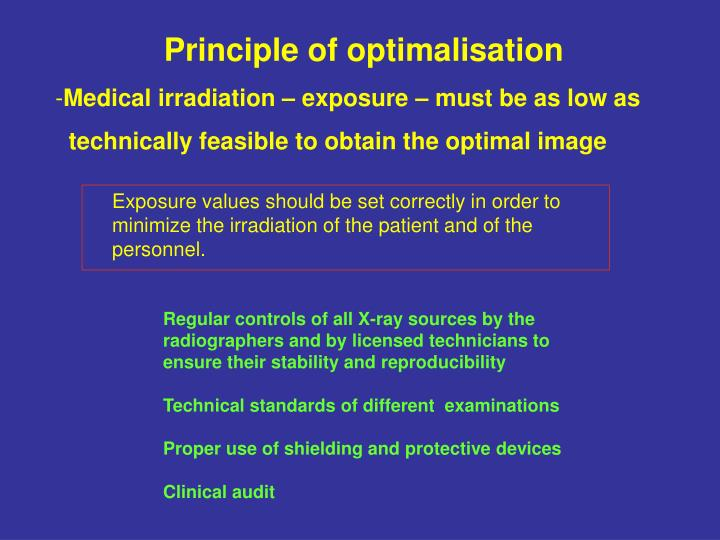Principle of optimalisation