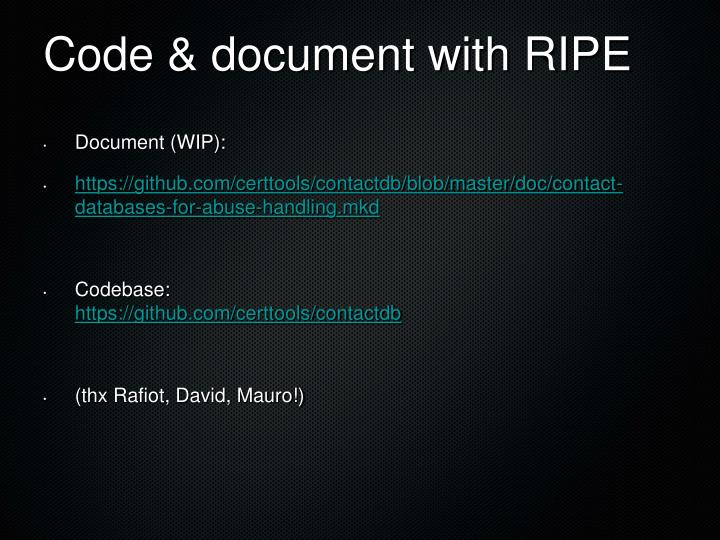 Code & document with RIPE