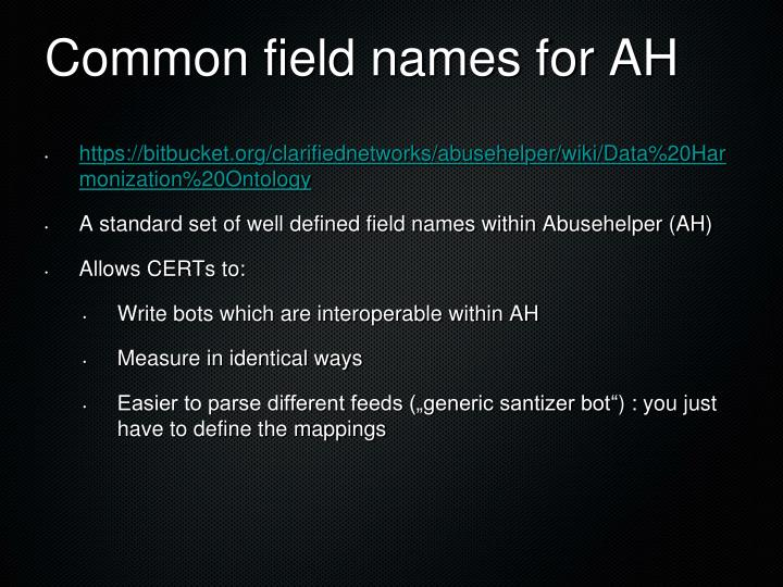 Common field names for AH