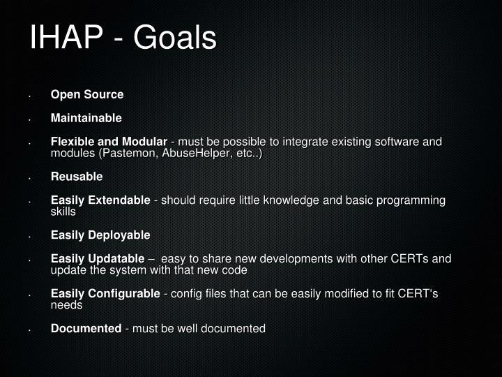 IHAP - Goals