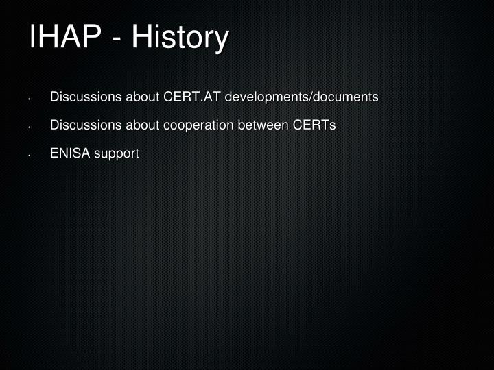 IHAP - History