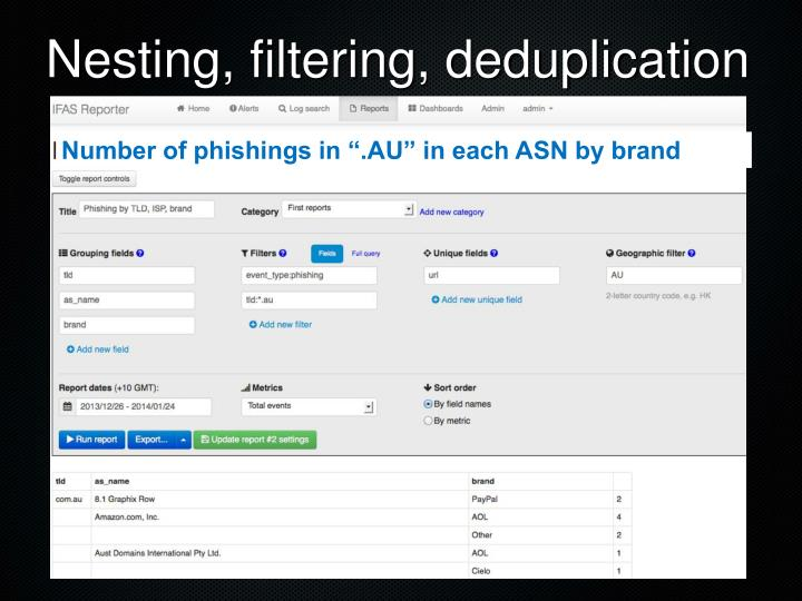 Nesting, filtering, deduplication