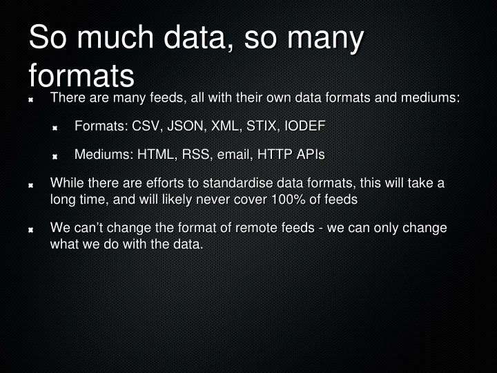 So much data, so many formats