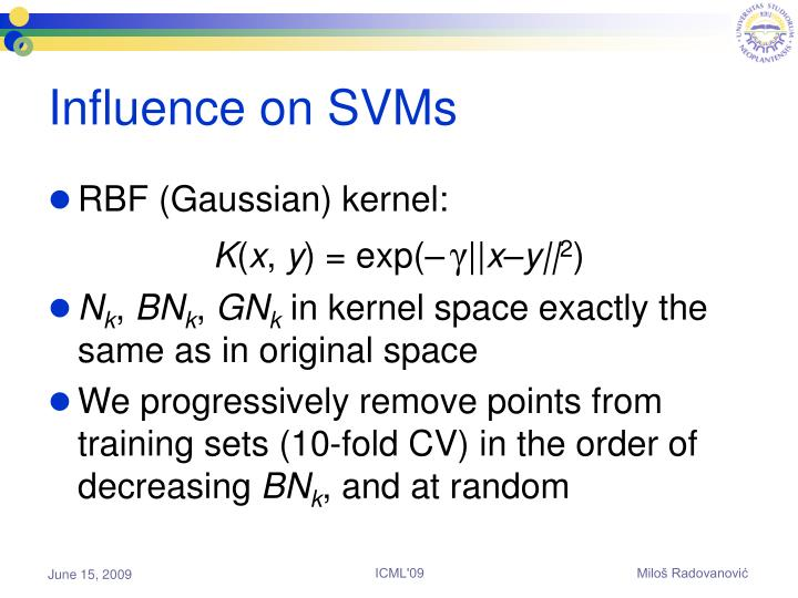 Influence on SVMs