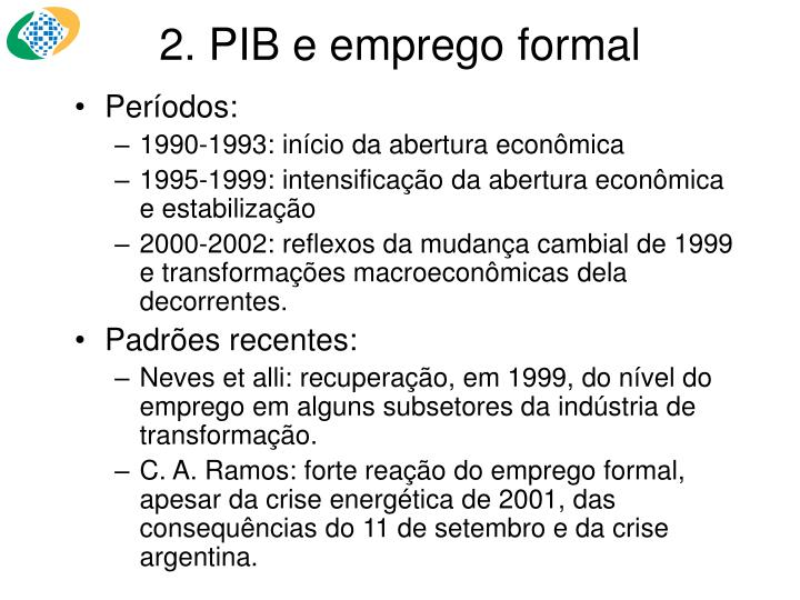 2. PIB e emprego formal