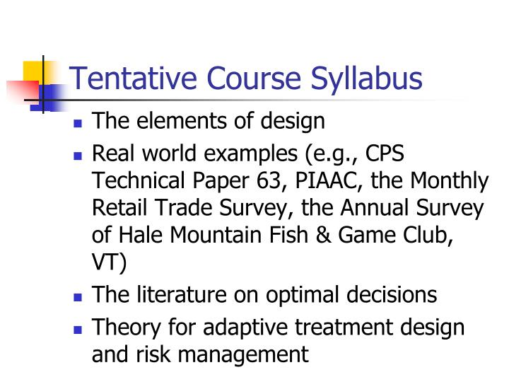 Tentative Course Syllabus