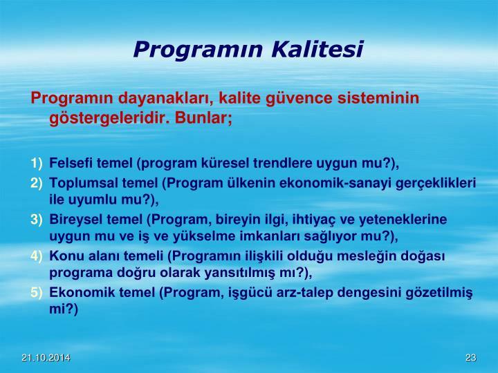 Programın Kalitesi