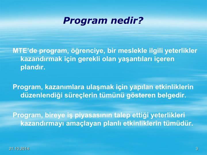 Program nedir?