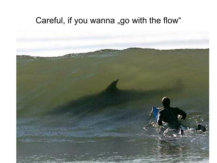 "Careful, if you wanna ""go with the flow"""