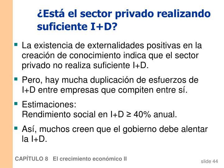 ¿Está el sector privado realizando suficiente I+D?