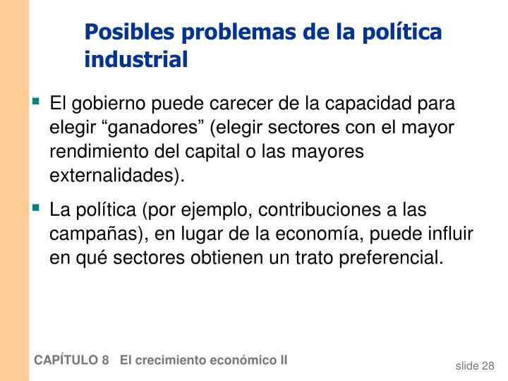 Posibles problemas de la política industrial