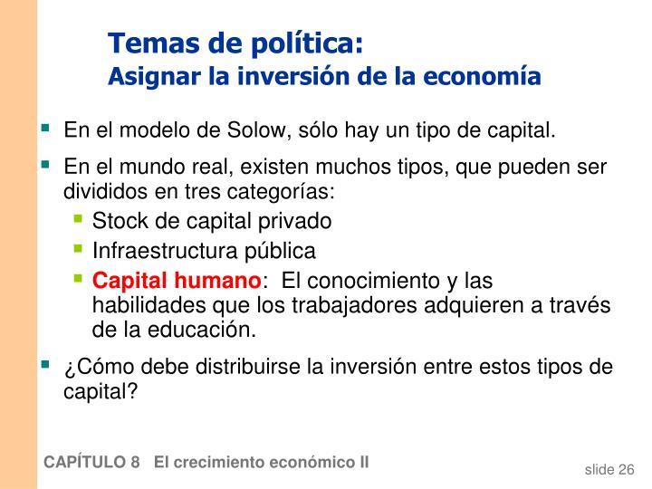Temas de política: