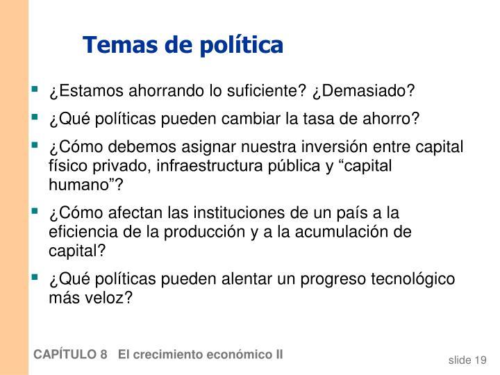 Temas de política