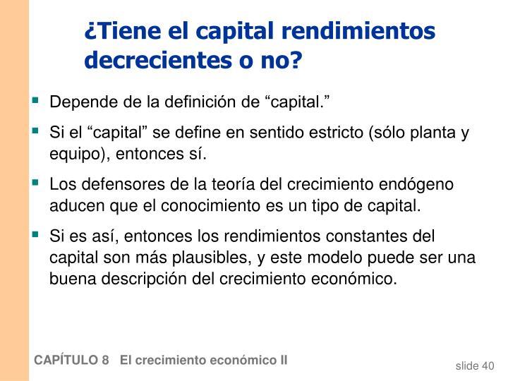 ¿Tiene el capital rendimientos decrecientes o no?
