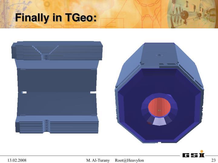 Finally in TGeo: