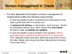 version management in oracle