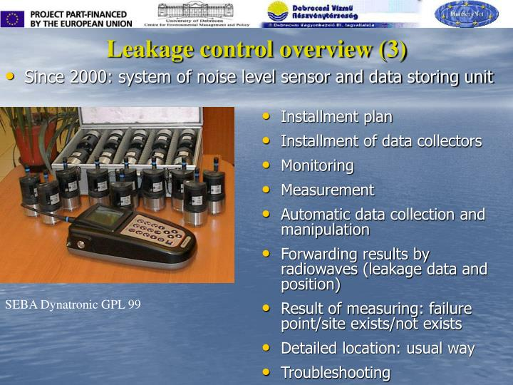 Leakage control overview (3)