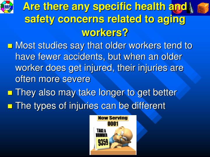 Are there any specific health and safety concerns related to aging workers?