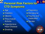 personal risk factors for ctd symptoms