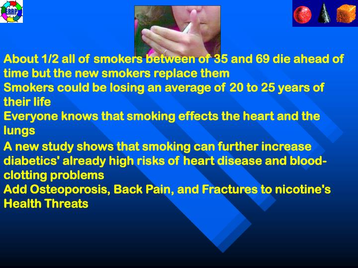 About 1/2 all of smokers between of 35 and 69 die ahead of time but the new smokers replace them