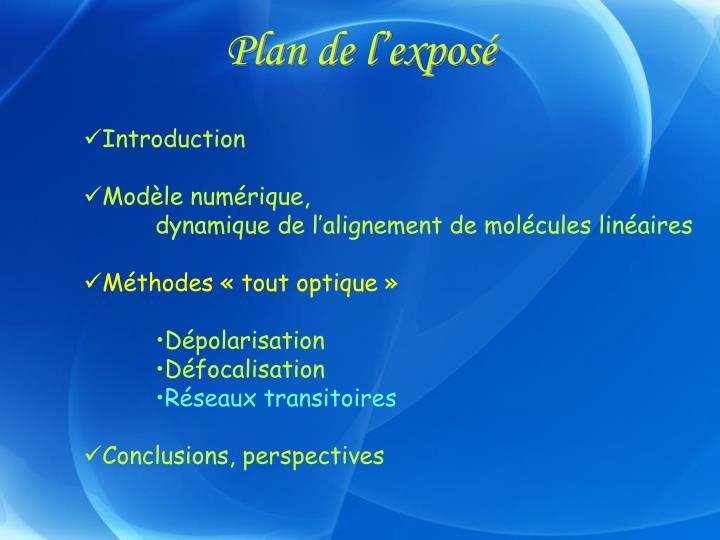 Plan de l'exposé