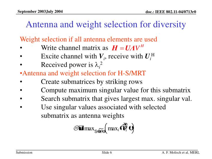 Antenna and weight selection for diversity