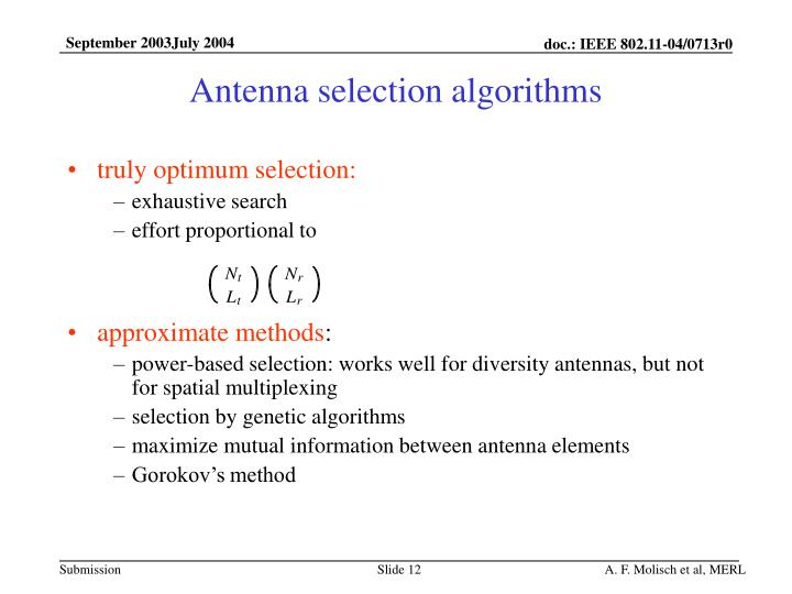 Antenna selection algorithms