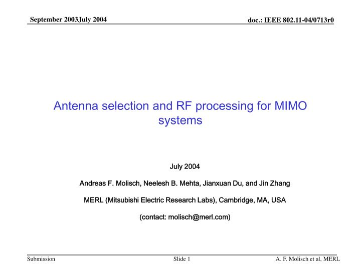 Antenna selection and rf processing for mimo systems