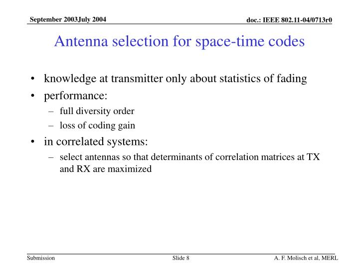 Antenna selection for space-time codes