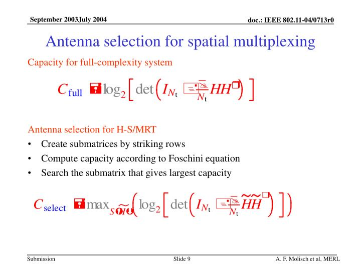 Antenna selection for spatial multiplexing