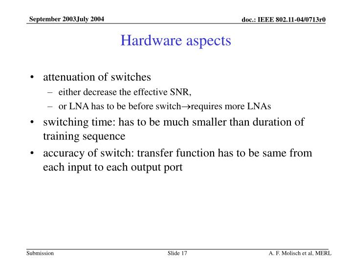 Hardware aspects