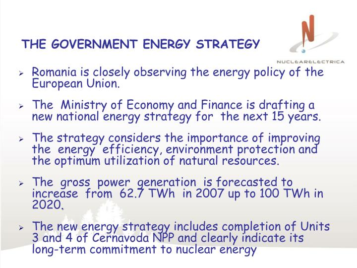 THE GOVERNMENT ENERGY STRATEGY