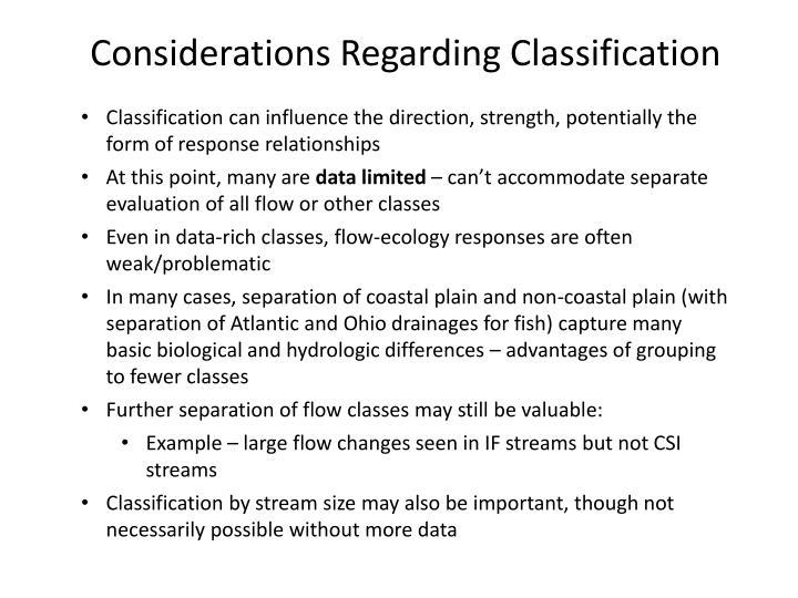 Considerations Regarding Classification