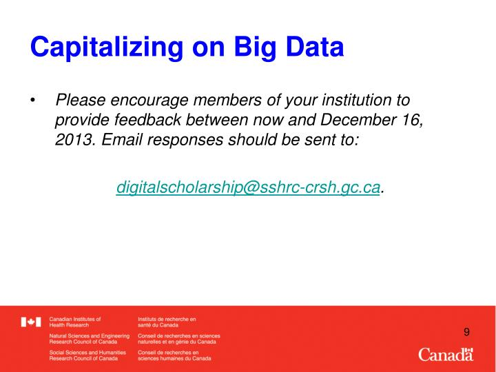 Capitalizing on Big Data