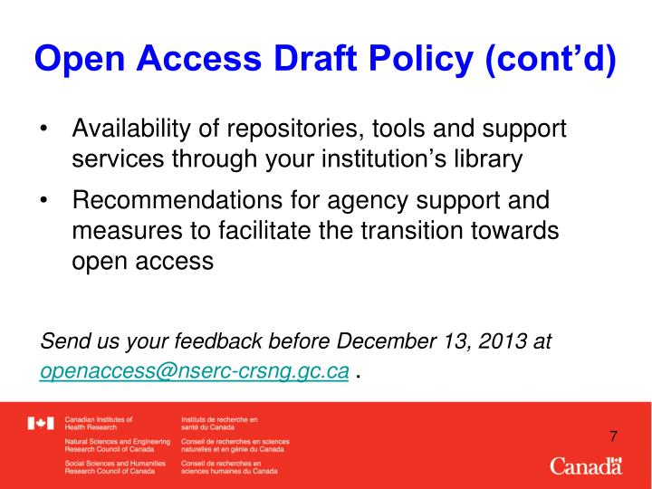 Open Access Draft Policy (cont'd)