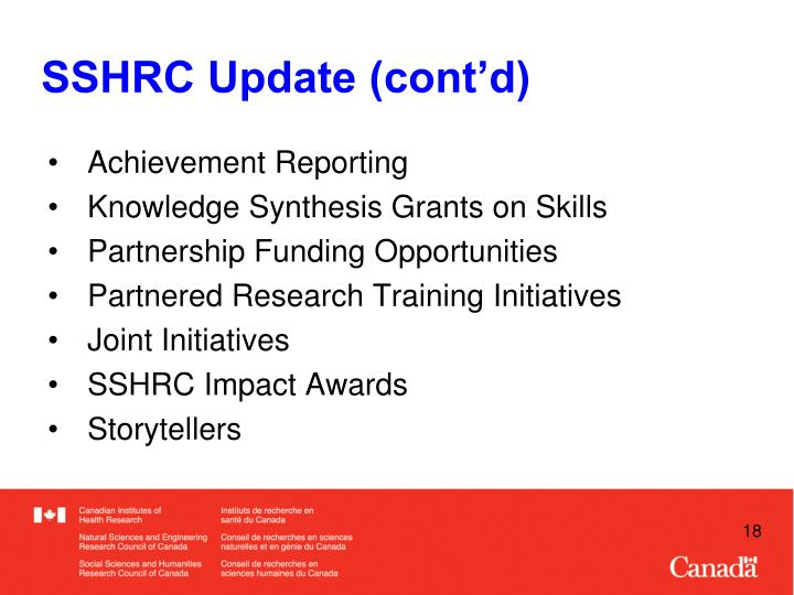 SSHRC Update (cont'd)