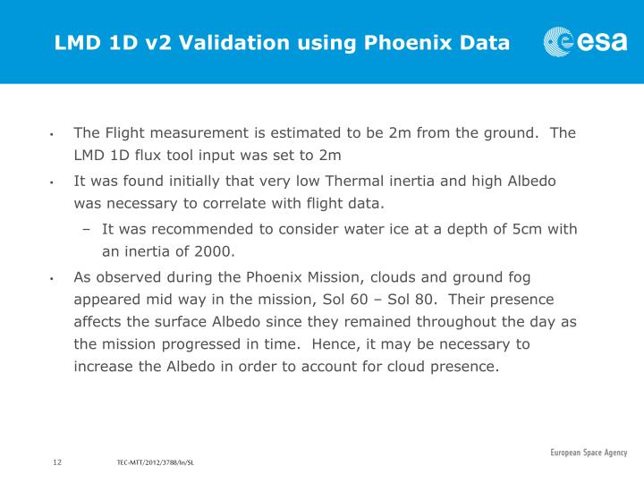 LMD 1D v2 Validation using Phoenix Data