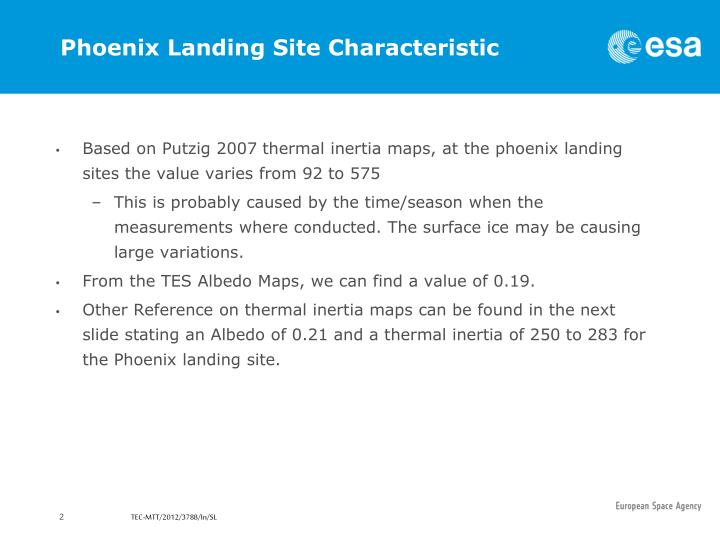 Phoenix Landing Site Characteristic