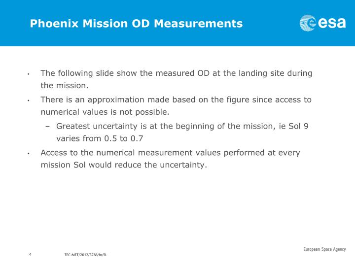 Phoenix Mission OD Measurements
