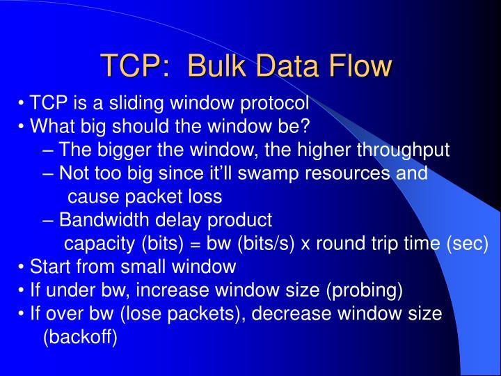TCP:  Bulk Data Flow