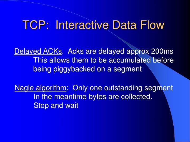 TCP:  Interactive Data Flow